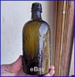 Pontiled Olive Green Clarke & White New York Pint Mineral Water Crude Whittled
