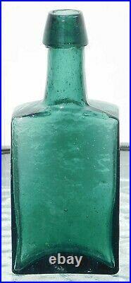 Pre 1900's Open Pontil Medicine Bottle G. W. Merchant Lockport, N. Y. Dark Teal