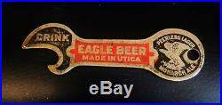 Pre Prohibition Eagle Beer Brewing Painted Brass Metal Bottle Opener Utica Ny
