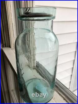 Pristine Quart C F Spencers Patent Richester New York Jar With Repro Lid