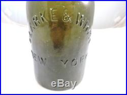 Quart Clarke & White New York Huge Open Pontil Olive Green