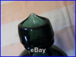 Quart Open Pontil David's & Black New York Green Master Ink Bottle Pour Spout
