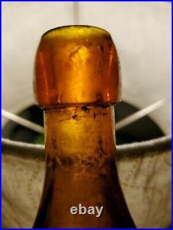 RARE 1800s Auburn NY Ale Bottle FANNINGS LAGER Waldsohlosschen IRIDESCENT PATINA