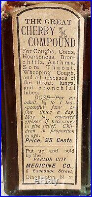 RARE Antique Crude Medicine Bottle The Great Cherry Compound Binghamton NY