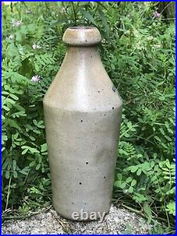 RARE Antique WALKERS POP Blue Logo Glazed Stoneware Quart Soda Beer Bottle NY