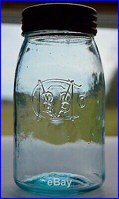 RARE BBGMCo BALL BRO'S GLASS Co. BUFFALO N. Y. GR. LIP QT. WHITTLED JAR 1885-1886
