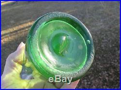 RARE Crude FLOURESCENT Green UNUSUAL Shape BARTLETT & PLUMMER Druggists NEW YORK