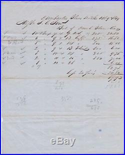 RARE Manuscript Receipt Billhead- Dunbarton Glass Works 1849 Vernon NY Bottles