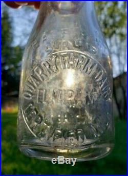RARE Milk Bottle Elmira NY Quarry Farm Dairy Early Tin Top Half Pint Wash/Return