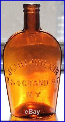 RARE Private mold strap sided pint JOHN WILKIN 254 GRAND ST NY Fine condition