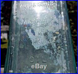 RARE WEDGE SHAPED WILLSON'S CARBOLATED COD LIVER OIL BROOKLYN, NY 1870s DUG L@@K