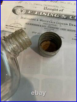 RARE c1880 1906 STAG WHISKEY E. EISING & CO. NY Glass Bottle Pre Prohibition