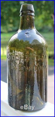 RARE pontiled LYNCH & CLARK NEW YORK Quart Circa 1823 Great Glass Texture Color