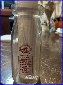 RARE pre Woodstock Yasgur Dairy Farms 11 E 56 half pint cream bottle Bethel NY