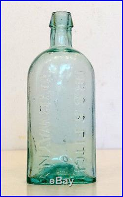 REAL BEAUTY! 1840's 1850's Antique DR S S FITCH Aqua OPEN PONTIL Bottle NEW YORK