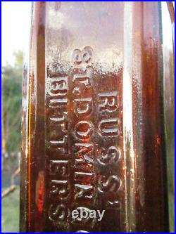 RUSSS ST. DOMINGO BITTERS NEW YORK 1860's 80's BOTTLE
