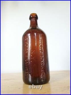 Rare 1870s Amber Schultz & Warker NY Bitter Kissingen Mineral Water Bottle