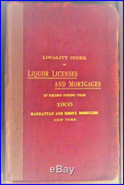 Rare 1905 New York Liquor Licenses Directory Brewers and Distillers Book