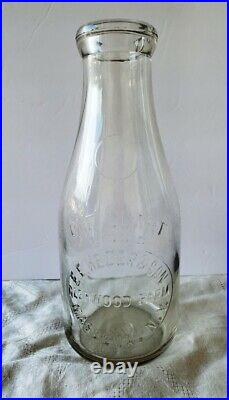 Rare 1928 E. E. Kezer & Son Embossed Milk Bottle Massena NY St. Lawrence County