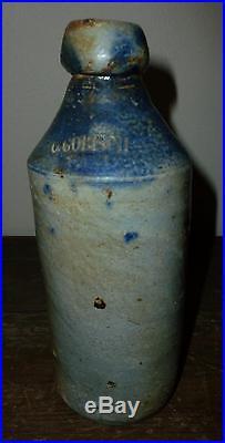 Rare Antique 1-Pint C. Gobisch, NJ NY Stoneware Beer Bottle Blue Slip Shoulder