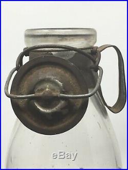 Rare Antique A G SMALLEY & Co MILK BOTTLE Boston N. Y. Tin Handle Lid