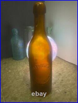 Rare Antique Golden Amber Blob Top Bottle Scott Brewing Co Schenectady NY