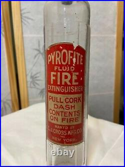 Rare Antique PYROFITE Fluid Fire ExtinguisherGlass Bottle-Pull CorkCJ CrossNY