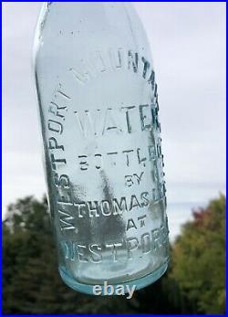 Rare Antique Westport Ny Mountain Spring Water Bottle Thomas Lee Aqua Bubbles