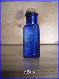 Rare Blue Dr. J. F. Roe Binghamton Ny Pharmacy Drugstore Medicine Cure Bottle