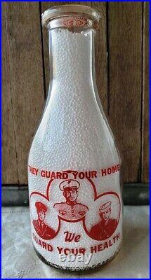 Rare Franklin Dairy Milk Bottle Tupper Lake New York Adirondacks Soldier Logo