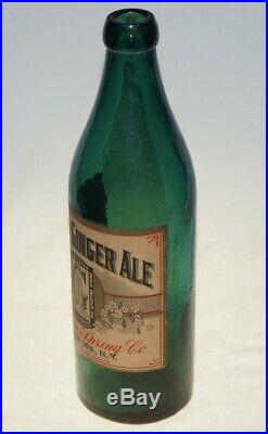 Rare Fully Labeled Mohican Spring Geyser Ginger Ale Bottle Ballston Spa Ny