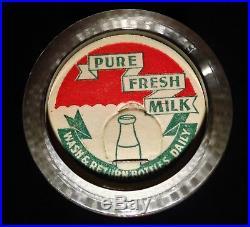 Rare Half pint Yasgur Dairy Farms Bethel NY cream milk bottle 1956 pre Woodstock