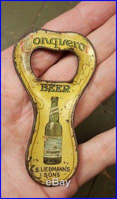 Rare Liebmann Painted Tin Litho CONQUEROR Beer Bottle Opener N Y