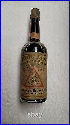 Rare ORG Pre Pro Monarch Stomach Bitters Whiskey Bottle Buffalo New York NY