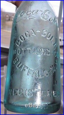 Rare Old Blue Straight Side Coca Cola Bottle Buffalo, New York Nice