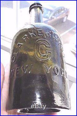 Rare Original Clark & White, New York Olive Green Color Mineral Bottle Nice