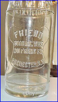 Rare Original Friend Bottling Works 30 Oz Bottle Rochester, N. Y. Mint