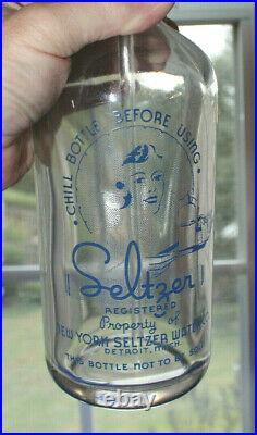 Rare Original New York Seltzer Water Bottle Detroit, Mich. Nice