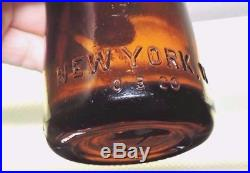 Rare Original Straight Side Amber Coca Cola Bottle New York, N. Y. Mint
