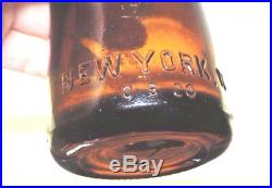 Rare Original Straight Side Amber Coca Cola Bottle New York, N. Y. Mint