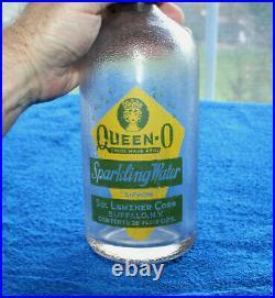 Rare Queen-O Logo Sol Lenzner Green/Yellow Seltzer Bottle Buffalo, New York