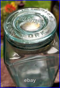 Rare SQUARE The S. S. W. D. M. CO Fruit Jar Insert E. C. Rich Gibson's New York