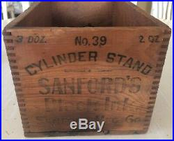 Rare Sanfords Inks Chicago New York Advertising Bottle Wood Crate Free Shipping