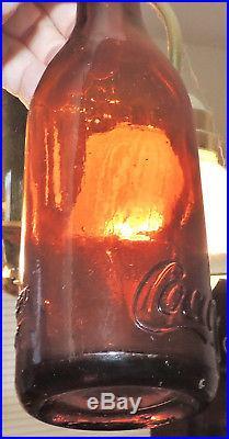 Rare Straight Side Coca Cola Amber Bottle Goshen, New York Nice