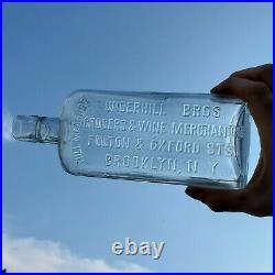 Rare Underhill Bros Grocers & Wine Merchants Brooklyn NY Pre Pro Whiskey Flask