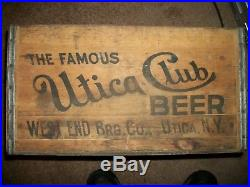 Rare Utica Club Wooden Beer Bottle Crate Box New York Wood Nice