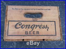 Rare Vintage Congress Haberle Beer Bottle Wood Box Crate Syracuse New York