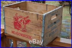 Rare Vintage Meadowbrook Dairy Farm Bronx N. Y. Wood Milk Bottle Adv. Crate Box