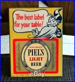 Rare Vintage Piel's Beer Masonite Sign Quart Bottle Label Piel Bros New York Ny