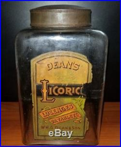 Rare W. G. Dean & Son New York Licorice Jar Embossed With Metal LID